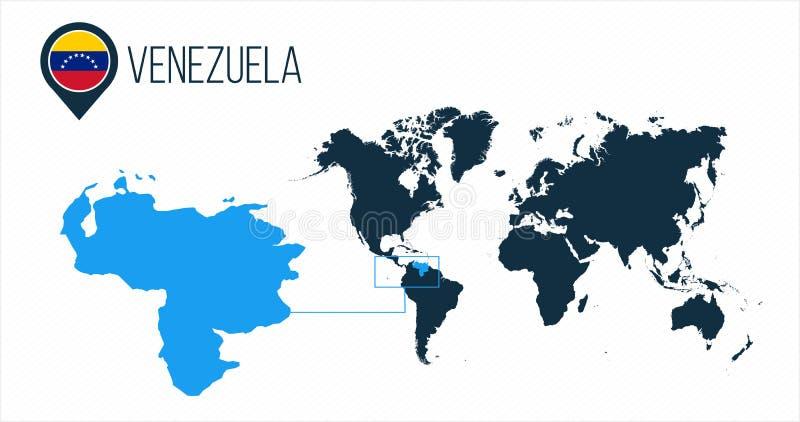 Venezuela översikt som lokaliseras på en världskarta med flaggan och översiktspekare eller stift Infographic översikt Vektorillus royaltyfri illustrationer