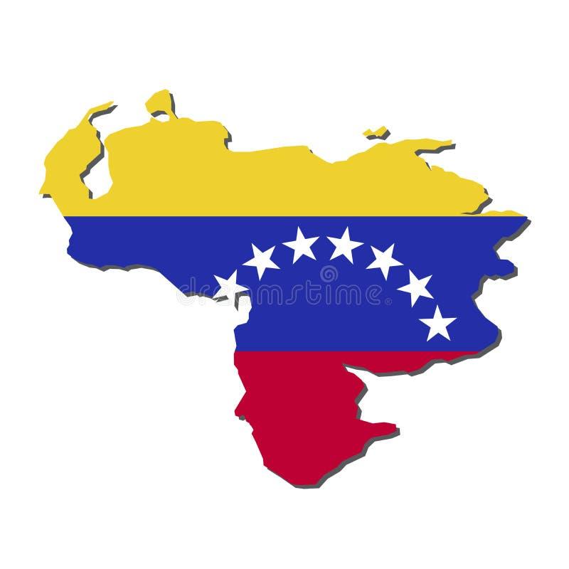 Venezuela översiktsflagga, Venezuela översikt med flaggavektorn royaltyfri illustrationer