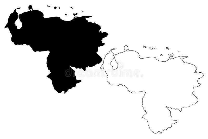 Venezuela översiktsvektor royaltyfri illustrationer
