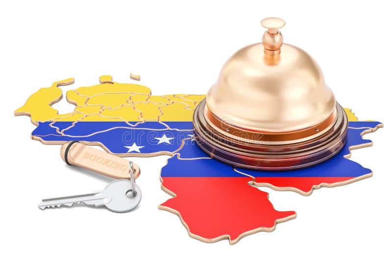 Venezuela bokningbegrepp Venezuelansk flagga med hotelltangent och beträffande stock illustrationer
