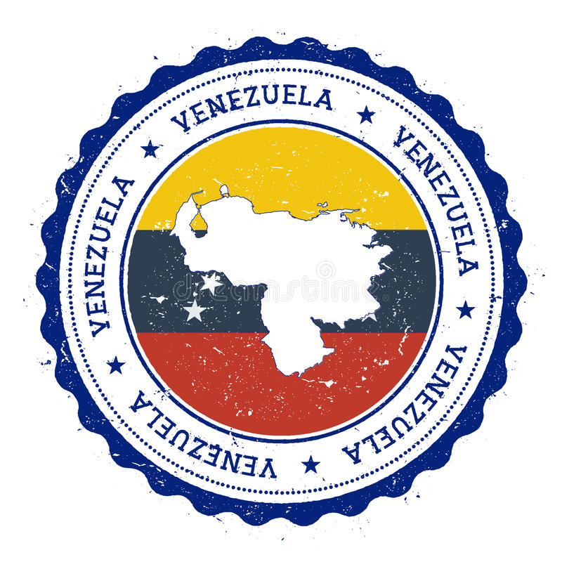 Venezuela Bolivarian republik av översikten och flaggan in stock illustrationer
