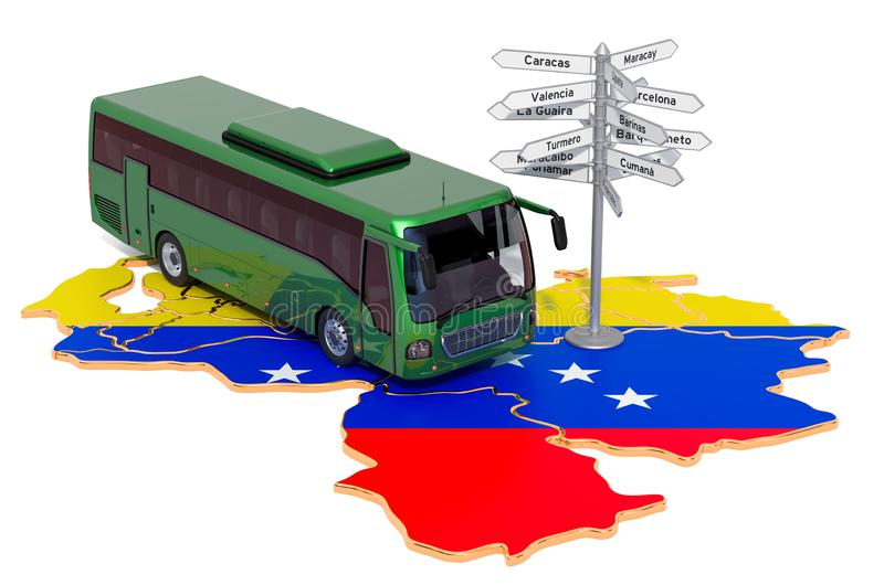 Venezuela Bus Tours concept. 3D rendering. Isolated on white background vector illustration