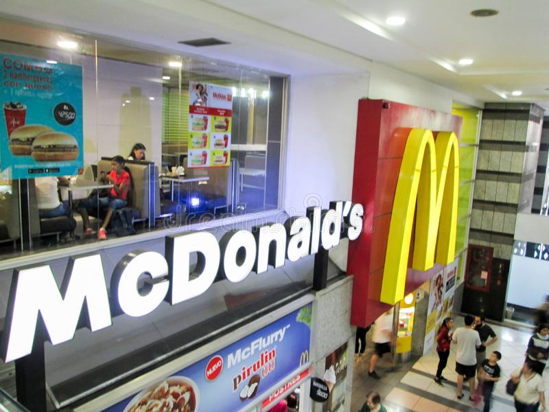 Venezuela, Caracas. Mc Donalds fast food restaurant, at El Recreo Shopping Center, near Sabana Grande Boulevard.  royalty free stock images