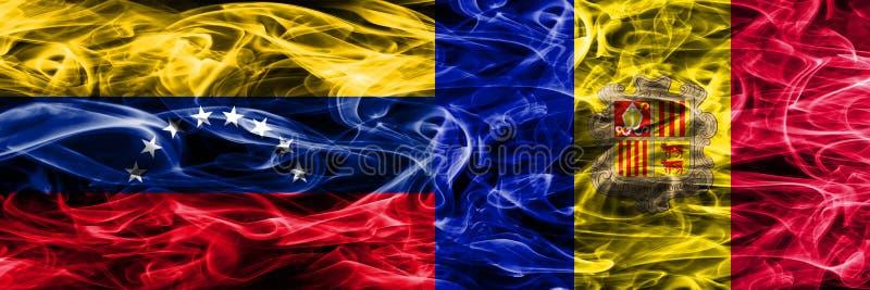 Venezuela contra as bandeiras coloridas do fumo do conceito de Andorra colocadas de lado a lado ilustração do vetor