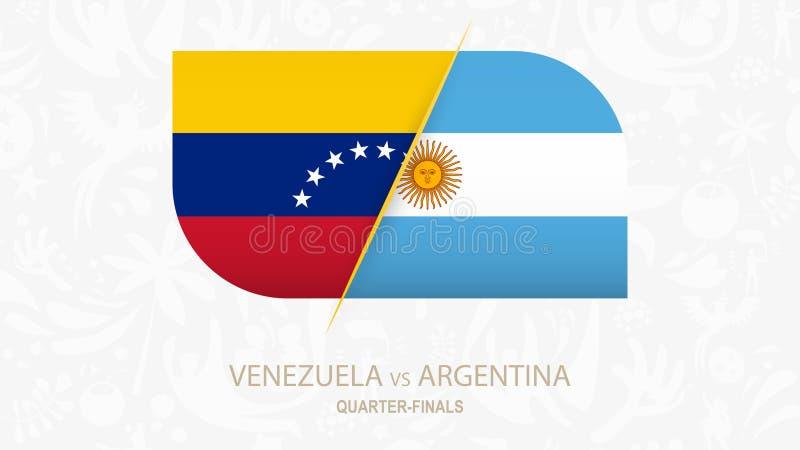 Venezuela contra la Argentina, Cuarto-finales de la competencia del fútbol ilustración del vector