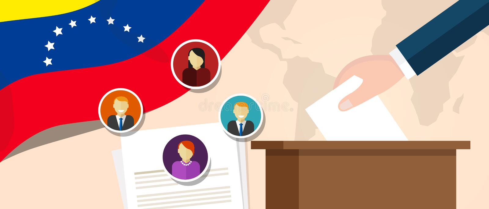 Venezuela democracy political process selecting president or parliament member with election and referendum freedom to. Vote vector stock illustration