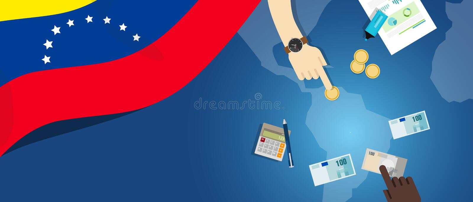 Venezuela economy, fiscal money trade concept illustration of financial banking budget with flag map and currency. Venezuela economy fiscal money trade concept vector illustration