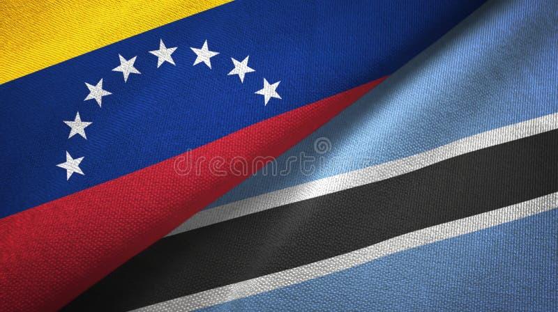 Venezuela en Botswana twee vlaggen textieldoek, stoffentextuur royalty-vrije illustratie