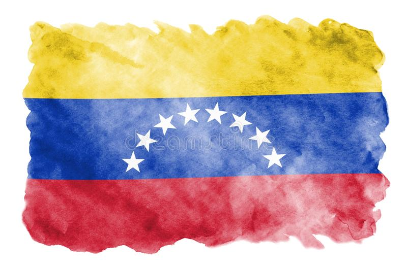 Venezuela flag is depicted in liquid watercolor style isolated on white background. Careless paint shading with image of national flag. Independence Day banner vector illustration