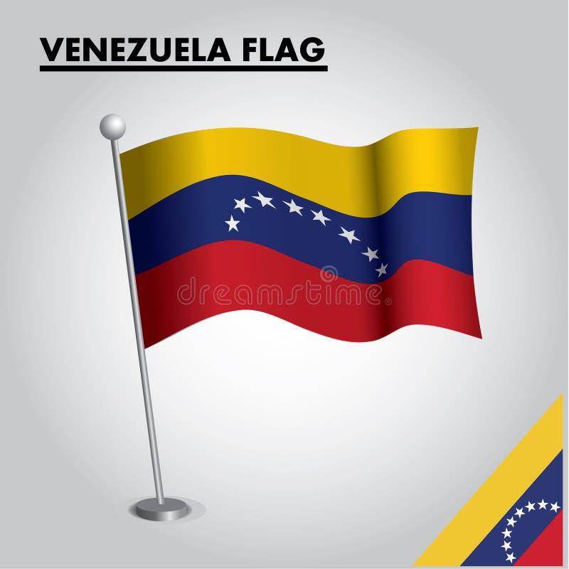 VENEZUELA flag National flag of VENEZUELA on a pole stock illustration