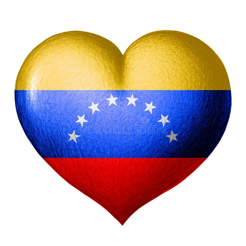 Venezuela flag in the shape of a heart. Isolated on white background vector illustration