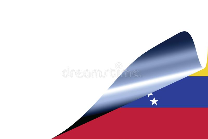 Venezuela flag on white. With curled page vector illustration