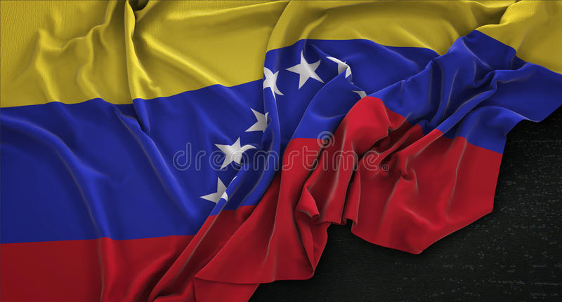 Venezuela Flag Wrinkled On Dark Background 3D Render. Digital Render stock illustration