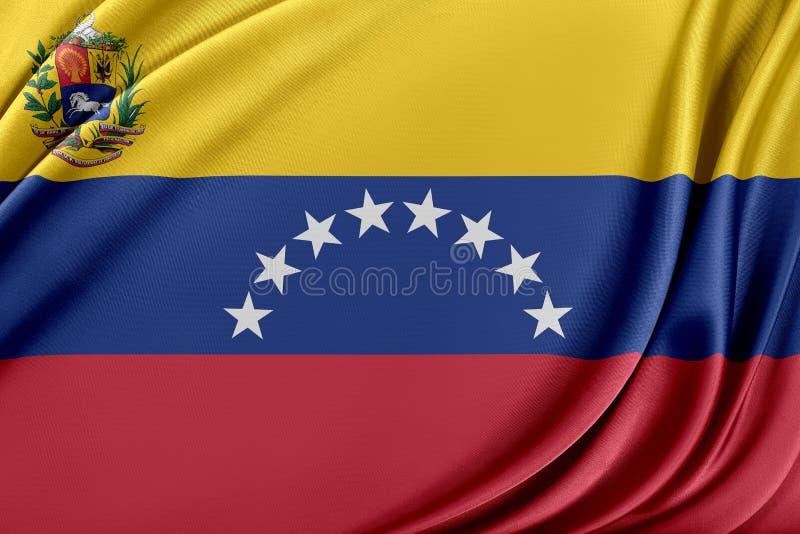 Venezuela flagga med en glansig siden- textur vektor illustrationer