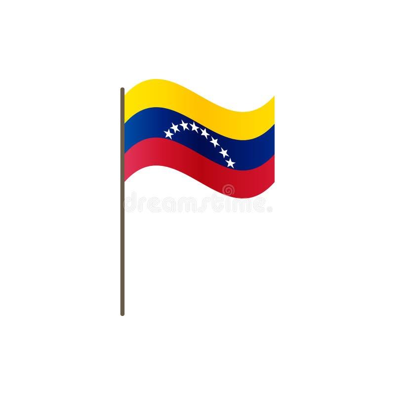 Venezuela flagga på flaggstången Representantfärger och proportion korrekt Vinka av den Venezuela flaggan på flaggstång, vektoril vektor illustrationer