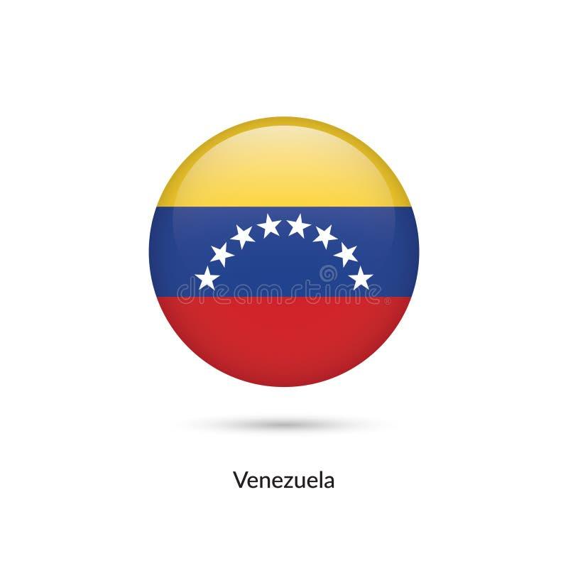 Venezuela flagga - rund glansig knapp stock illustrationer