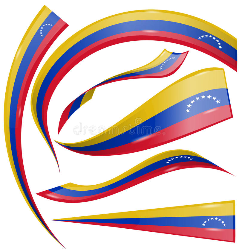 Venezuela flaggauppsättning royaltyfri illustrationer