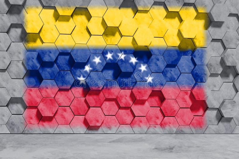 Venezuela-Flagge auf Hexagon formte Betonblock-Wand Front View Abbildung 3D lizenzfreie abbildung