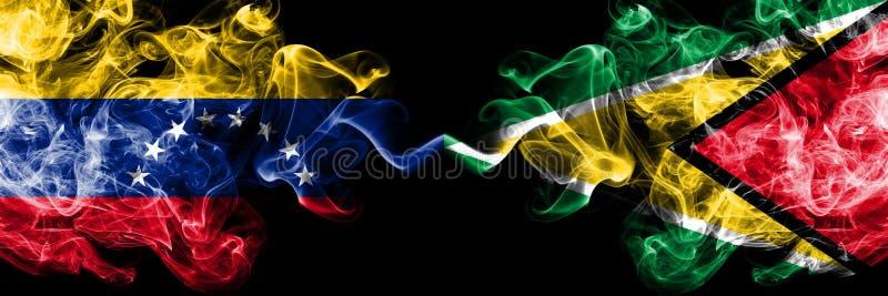 Venezuela gegen Guyana, guyanische rauchige mystische Flaggen nebeneinander gesetzt Dicke farbige seidige Rauchflaggen von Venezu lizenzfreie abbildung