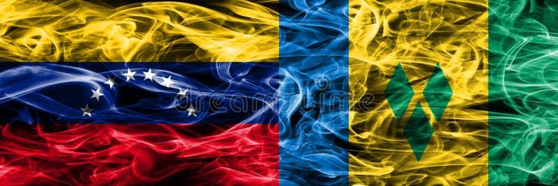 Venezuela gegen St. Vincent und die Grenadinen die bunten Konzept-Rauchflaggen nebeneinander gesetzt lizenzfreie abbildung