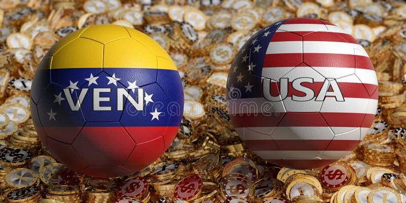Venezuela gegen. USA Fußball-Match - Fußball-Bälle in Venezuela und den USA Nationalfarben auf einem Bett für goldene Dollar-M vektor abbildung