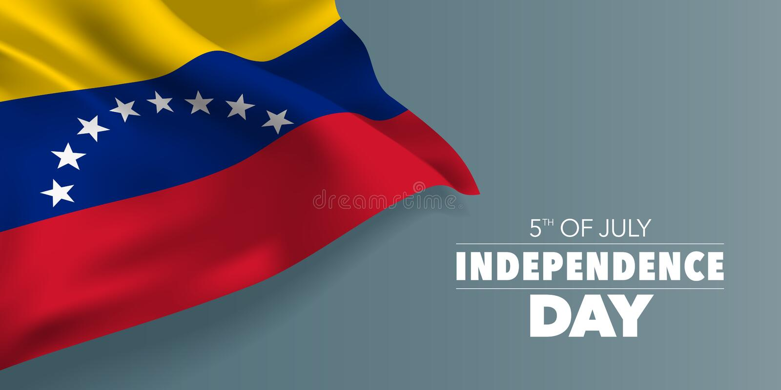 Venezuela happy independence day greeting card, banner with template text vector illustration. Venezuelan memorial holiday 5th of July design element with flag royalty free illustration