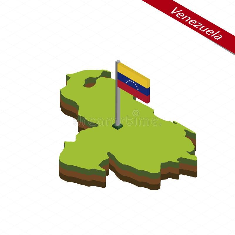 Venezuela isometrisk översikt och flagga också vektor för coreldrawillustration vektor illustrationer