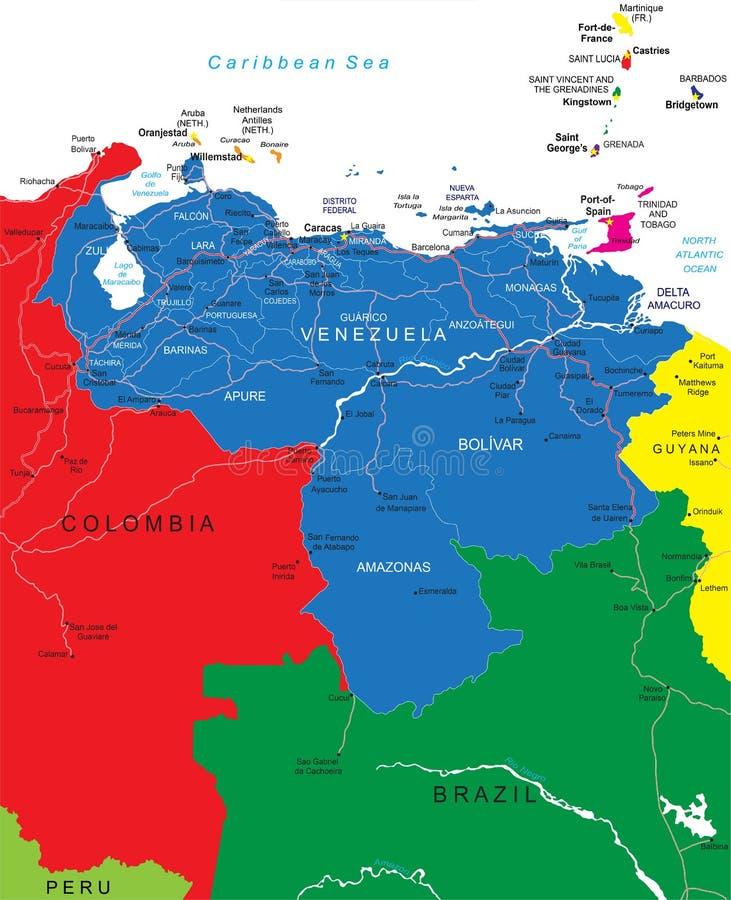 Venezuela kartlägger stock illustrationer