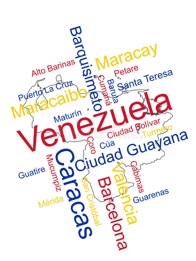 Venezuela Map and Cities. Venezuela map and words cloud with larger cities stock illustration