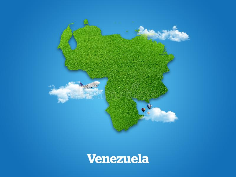 Venezuela Map. Green grass, sky and cloudy concept. stock illustration