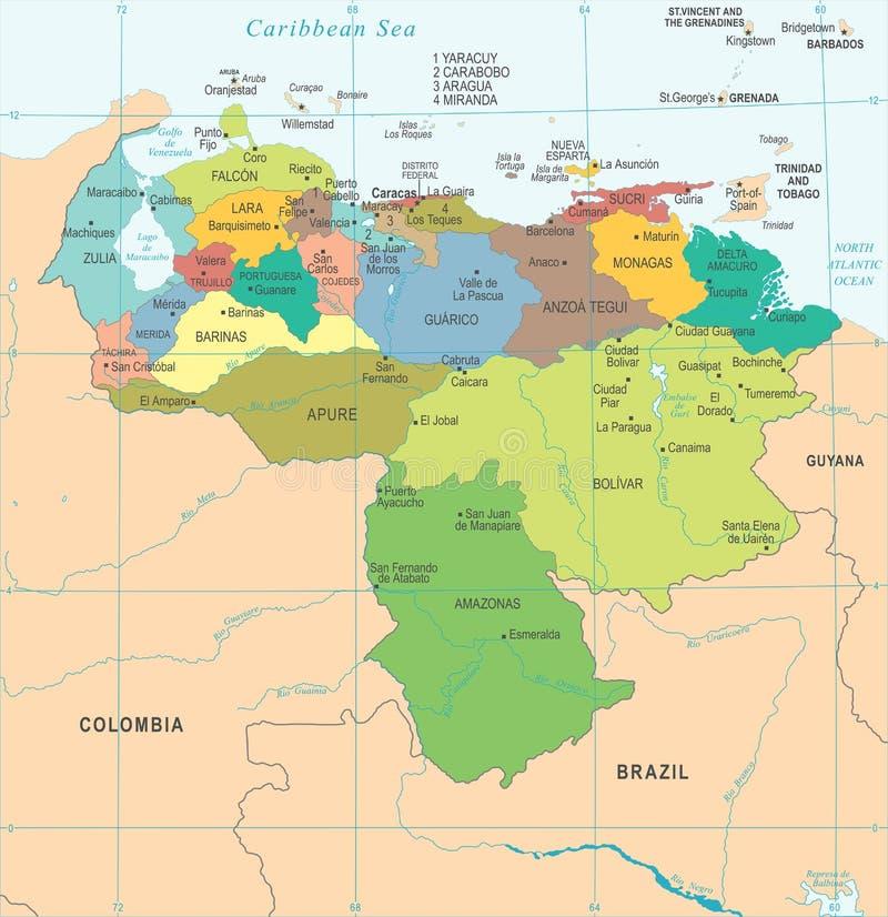 Venezuela Map Detailed Vector Illustration Stock Illustration