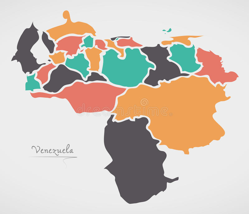 Venezuela Map with states and modern round shapes. Illustration royalty free illustration