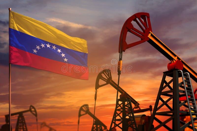 Venezuela oljeindustribegrepp Industriell illustration - Venezuela flagga och olje- brunnar med den röda och blåa solnedgången el royaltyfri illustrationer