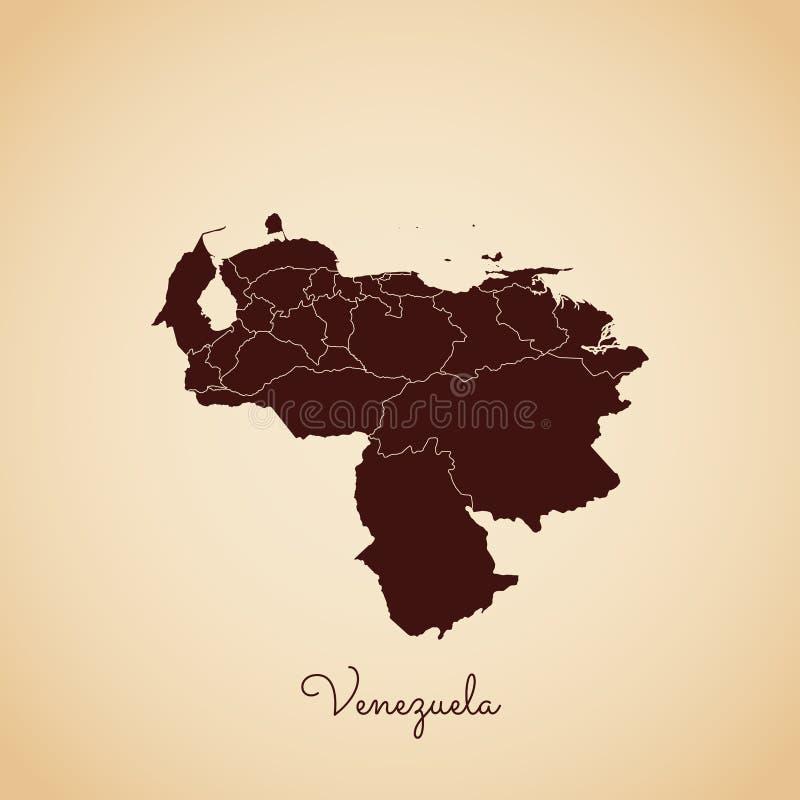 Venezuela regionöversikt: retro stilbruntöversikt royaltyfri illustrationer
