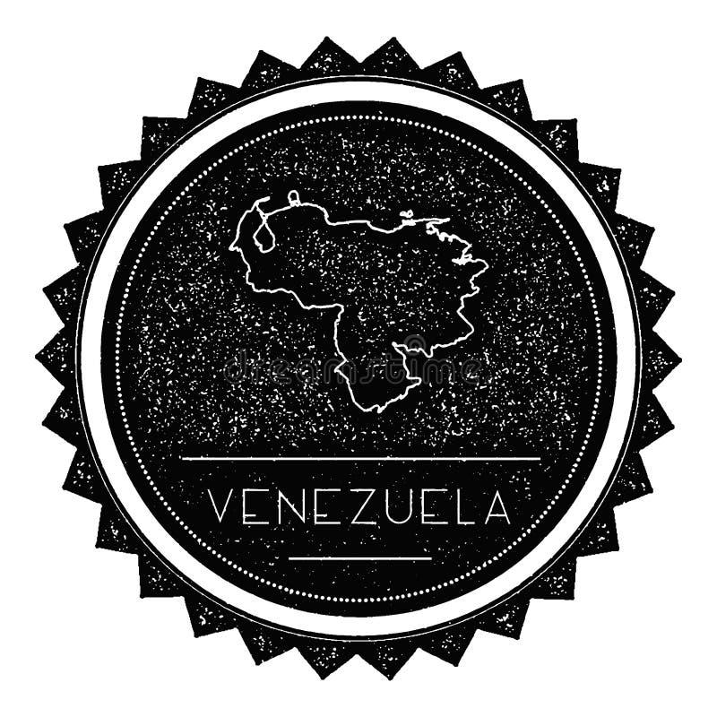 Venezuela, república de Bolivarian de la etiqueta del mapa con ilustración del vector