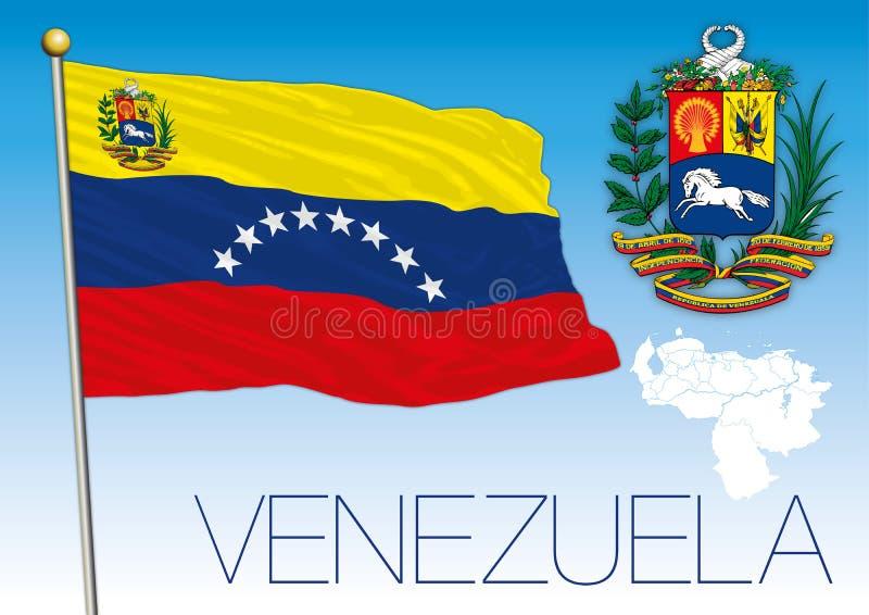 Venezuela, Republica Bolivariana, Flagge, Karte und Wappen stock abbildung