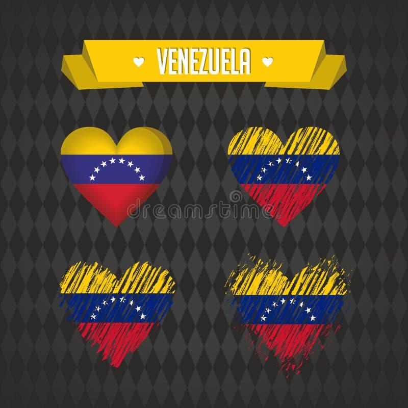 venezuela Samling av fyra vektorhjärtor med flaggan Hjärtakontur royaltyfri illustrationer
