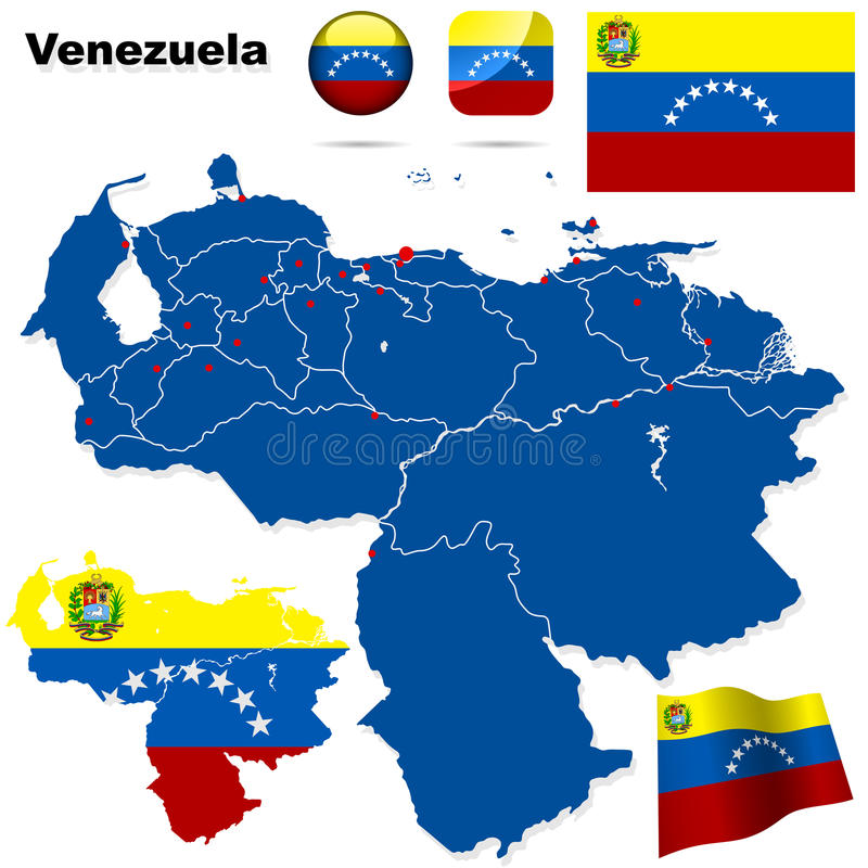 Venezuela set. Detailed country shape with region borders, flags and icons isolated on white background royalty free illustration