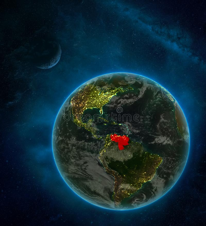 Venezuela from space on Earth at night surrounded by space with Moon and Milky Way. Detailed planet with city lights and clouds. 3D illustration. Elements of royalty free illustration