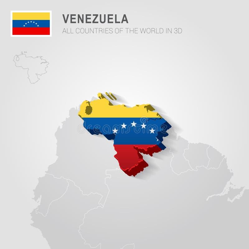 Venezuela tirada no mapa cinzento ilustração stock