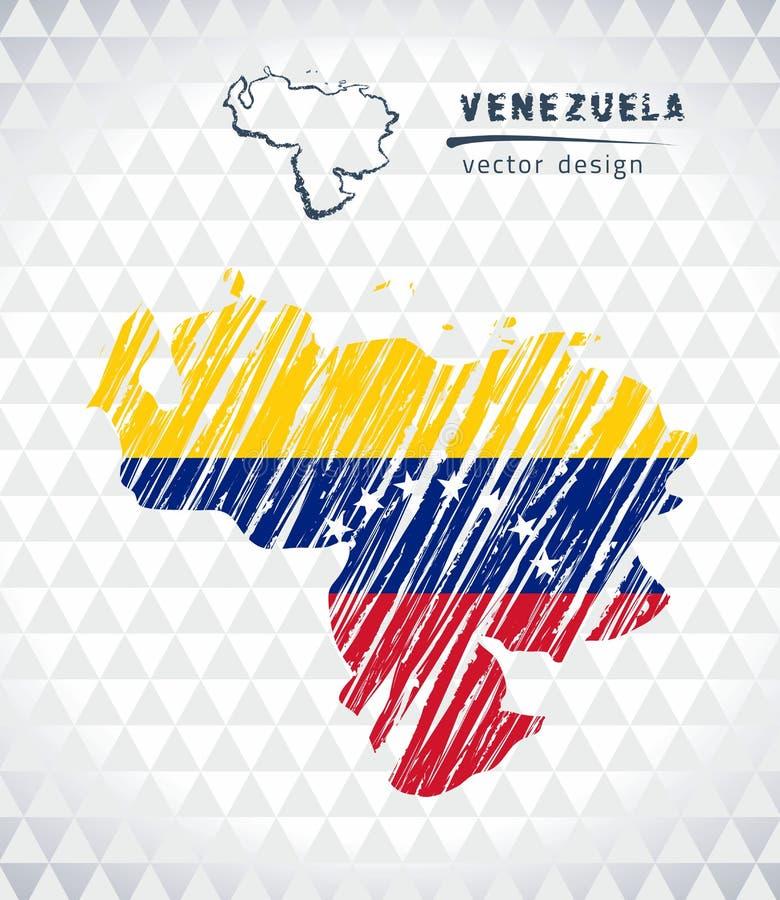 : Venezuela vektoröversikt med flaggainsidan som isoleras på en vit bakgrund Skissa drog illustrationen för krita handen royaltyfri illustrationer