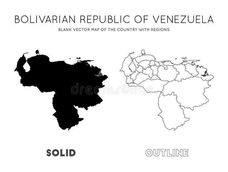 Venezuela ?versikt vektor illustrationer