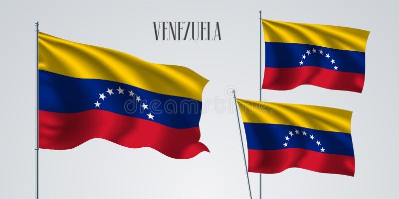 Venezuela vinkande flaggauppsättning av vektorillustrationen royaltyfri illustrationer