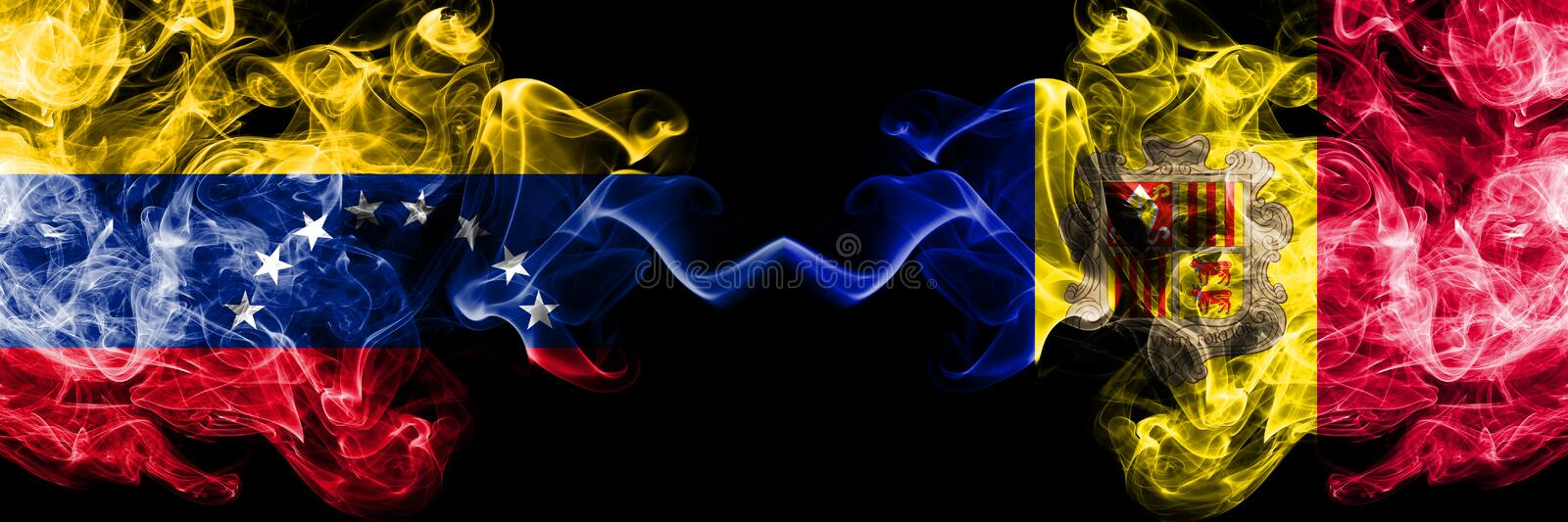 Venezuela vs Andorra, Andorran smoky mystic flags placed side by side. Thick colored silky smoke flags of Venezuela and Andorra,. Andorran royalty free illustration