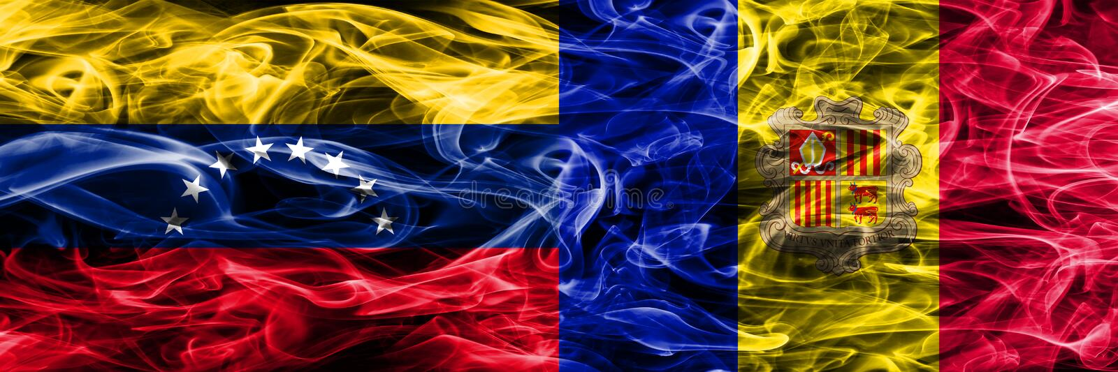 Venezuela vs Andorra colorful concept smoke flags placed side by side. vector illustration