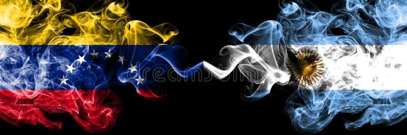 Venezuela vs Argentina, argentinska rökiga mystikerflaggor förlade sidan - vid - sidan Tjocka kul?ra silkeslena r?kflaggor av Ven stock illustrationer