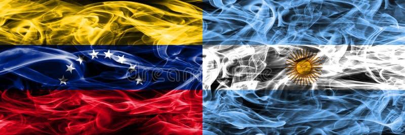 Venezuela vs Argentina colorful concept smoke flags placed side by side. Venezuela vs Argentina colorful concept smoke flags placed side by side royalty free illustration