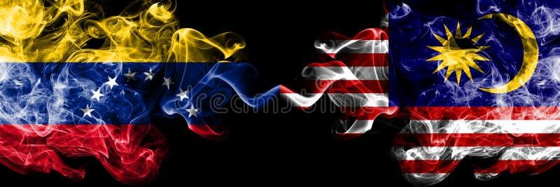Venezuela vs Malaysia, malaysiska rökiga mystikerflaggor förlade sidan - vid - sidan Tjocka kulöra silkeslena rökflaggor av Venez vektor illustrationer