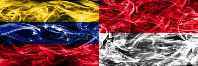 Venezuela vs Monaco färgrik begreppsrök sjunker den förlade sidan - förbi - sidan stock illustrationer