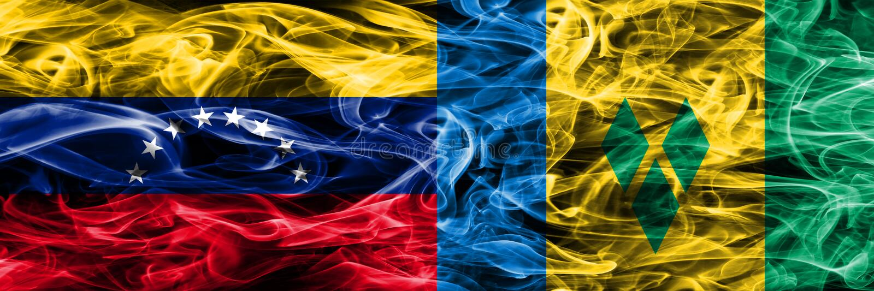 Venezuela vs Saint Vincent och Grenadinerna färgrik begreppsrök sjunker den förlade sidan - förbi - sidan royaltyfri illustrationer